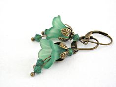 Green bell lucite flowers brass earrings - Vintage style $11.90 #christmas #gift #fashion http://www.etsy.com/listing/82311648/green-bell-lucite-flowers-brass-earrings