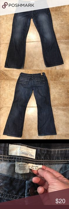 Maurice Jeans, 13/14 short, Morgan boot cut Maurice's jeans, junior size 13/14 short, Morgan boot cut.  Great condition with slight fraying on back. Front hems (both left & right) have no fraying. Last picture is the front. Maurices Jeans Boot Cut