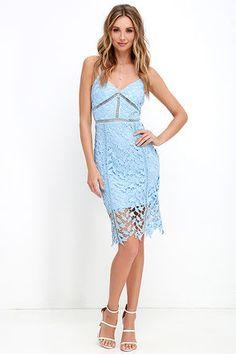 Burning Desire Light Blue Lace Dress at Lulus.com!