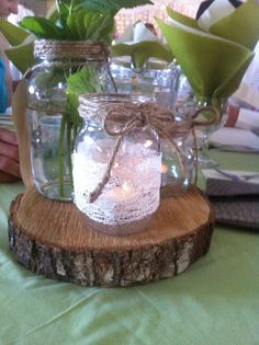 DIY Pinner: Wedding Centerpieces - Rustic & Vintage Mason Jars with Lace like the log plinth for table centres Vintage Centerpieces, Jar Centerpieces, Rustic Wedding Centerpieces, Wedding Decorations, Rustic Weddings, Country Weddings, Wedding Rustic, Centerpiece Ideas, Trendy Wedding
