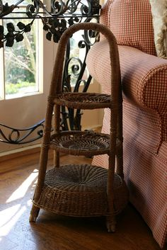 wicker tiered accent table