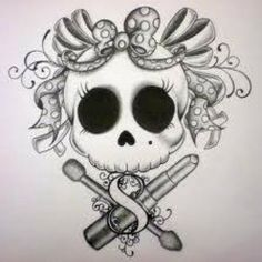 Skull+with+Bow+Tattoo+Drawing   Skull Art   Inked Magazine