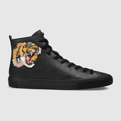 GUCCI Leather high-top with tiger. #gucci #shoes #men's sneakers