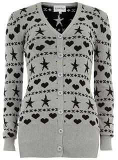 Grey star print cardigan