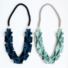 Love the idea of using origami techniques on fabric.  Fabric Origami Rope Necklace   Poketo