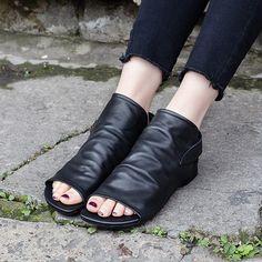 Block Hell Slip-On Peep Toe Casual Sandals