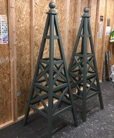 Wooden garden obelisk, Kennett Obelisk design, made from Accoya timber with 25 year timber guarantee against rot or decay. Painted using Farrow and Ball Exterior Eggshell paint, colour Green Smoke Rose Trellis, Diy Trellis, Garden Trellis, Trellis Ideas, Wooden Planters, Wooden Garden, Wooden Diy, Houston Garden, Baroque Decor