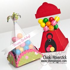 things to make with the petal cone die - must try designing on Cricut.  Like the gumball machine!!  Too cute.