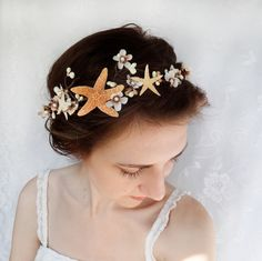seashell hair accessory, beach wedding, starfish head piece, bridal hair accessory - SEA MAIDEN - mermaid, white, taupe flower. $90.00, via Etsy.