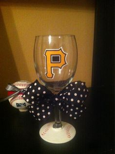 Pirates Wine glass, drink in style with your favorite team! $15 http://www.etsy.com/listing/96105096/piirates-mlb-wine-glass