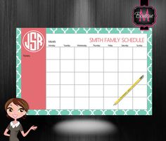 Monogrammed Monthly Desk Calendar - Personalized Desk Calendar , Planner, Desk Pad, Custom Monogrammed, Choose Your Colors on Etsy, $33.99
