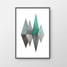 Printable Mid Century Poster, Geometric Mid-Century Print, Mountain Poster, Nordic Print, Blue Green Art, Modern Art, Scandinavian Print Art