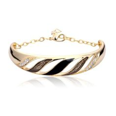 gold plated bracelet with open wave pattern and precious stones. Gold Plated Bracelets, Cuff Bracelets, Bangles, Couple Bracelets, Wave Pattern, Jewelry Sets, Heart Ring, Rings, Stones