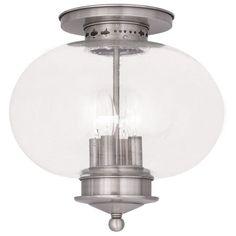 Livex Lighting 5038 Harbor 4 Light Semi-Flush Ceiling Fixture Brushed Nickel Indoor Lighting Ceiling Fixtures Semi-Flush