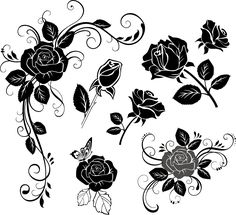 Black rose clipart flower clipart floral by BlueGraphic Rose Clipart, Flower Clipart, Flower Svg, Stencils For Wood Signs, Hand Drawn Flowers, Painted Flowers, Vector Flowers, Silhouette Vector, Flower Silhouette