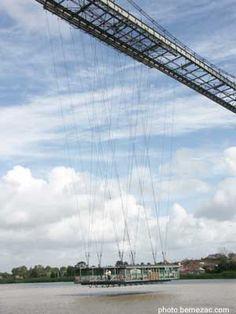 Pont transbordeur de Rochefort, la nacelle suspendue au chariot