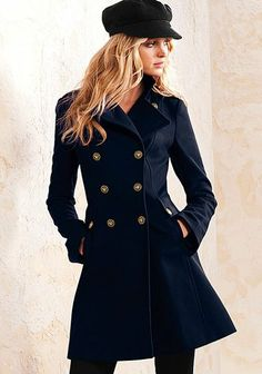 Wool Military Lace-Up Coat from Victoria's Secret. I had originally pinned the navy one, but then realized it really did look like a Civil War coat. Looks Style, Style Me, Purple Coat, Purple Jacket, Dark Purple, Purple Cardigan, Navy Jacket, Navy Blue, Cute Coats