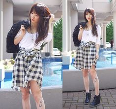 A skirt made of a shirt (by Ivy Xu) http://lookbook.nu/look/2258083-a-skirt-made-of-a-shirt