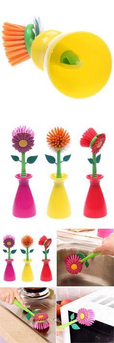Cleaning Brush Sun Flower Shape Pan Pot Brush Base Design Multi Bathroom Brush