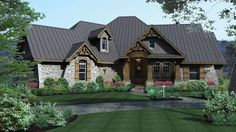 Home Plan HOMEPW73227 - 2847 Square Foot, 3 Bedroom 3 Bathroom + French Country Home with 3 Garage Bays | Homeplans.com