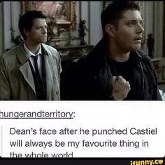 Still wondering why though. Dean has punched angels before, and after, and he never hurt his hand like that. Even Cas has gotten a few knucklesandwiches since. You'd think Dean would think twice to throw him another punch. Supernatural Destiel, Dean And Castiel, Michael Supernatural, Supernatural Gabriel, Supernatural Fanfiction, Sam Dean, John Barrowman, Dean Winchester, Winchester Brothers