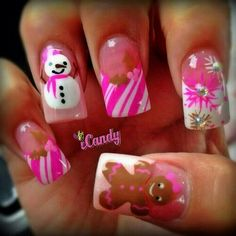 winter nail art #pink I may not be ready for holiday sweaters but I could do these.