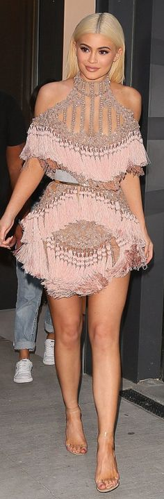 Who made Kylie Jenner's pink tassle dress and clear sandals?