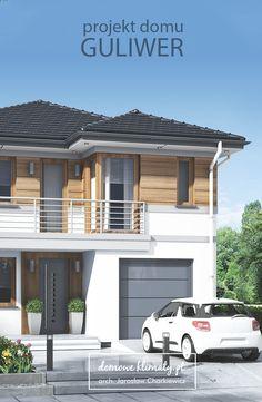 Projekt piętrowego domu przeznaczony dla czteroosobowej rodziny. Posiada jednostanowiskowy garaż z wejściem do kotłowni. Salon z kominkiem jest bardzo przytulnym i dobrze rozświetlonym miejscem wypoczynku. Od frontu znajduje się kuchnia z niedużą, ale praktyczną spiżarnią. Na parterze jest też mała łazienka.  Wszystkie trzy pokoje piętra mają wyjścia na balkony. Pokój rodziców otrzymał własną łazienkę i garderobę. 2 Storey House Design, Duplex House Design, Modern House Design, Sims House Plans, Duplex House Plans, Double Storey House Plans, Modern Architecture House, House Entrance, Facade Design