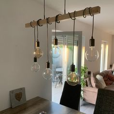 Lamps hung in the dining area . Lamp Design, Dining Area, Living Room Designs, The Good Place, Sweet Home, Diy Crafts, House Design, Ceiling Lights, Interior Design
