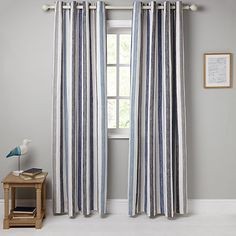 Buy John Lewis Penzance Stripe Pair Lined Eyelet Curtains Online at johnlewis.com