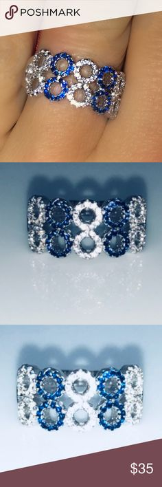 925 3xPP 110 AAA Blue and White CZ 10 Circles Sz 7 925 3xPP 110 AAA Blue and White CZ 10 Circles Sz 7 10mm in Height. Jewelry Rings