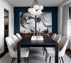 contemporary dining room design, modern dining room design with white walls, modern dining room table, modern dining room chairs and modern chandelier, neutral dining room decor Black And White Dining Room, Dining Room Blue, Dining Room Wall Decor, Dining Room Design, Decor Room, Design Bedroom, White Dining Rooms, Black Dinning Table, Navy Blue And Grey Living Room