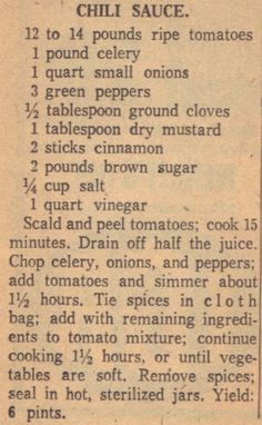 Recipe Clipping For Chili Sauce  similar to my grandmother's chili sauce
