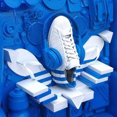 Adidas Originals Store // Veiray Zhang via Behance Design Set, Display Design, Booth Design, Desgin, Shoe Store Design, Adidas Originals, The Originals, Displays, Shoe Display