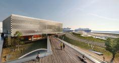 Tsabikos Petras vence concurso para o Museu Grego de Arqueologia,Vista do deck urbano. Image Courtesy of  Tsabikos Petras Architectural Studio
