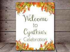 DIY 8x10 Autumn Watercolor Floral Welcome Sign by MagicalPrintable