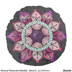 Flowery Watercolor Mandala - Berry Colors on Gray - This #round_accent_pillow featuring an original flower-inspired #mandala design that was executed w/digital #watercolor brushes (in shades of #raspberry, strawberry, blackberry & dark #charcoal_gray ), adds a touch of icy cool colors, softness, and whimsy to your neutral color Living Room or Bedroom, coordinating well w/ multiple decorating styles. By artist, Leslie Sigal Javorek. See coordinating products at HoMeArts.