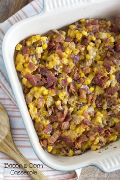 Bacon and Corn Casserole - Perfect holiday sidedish