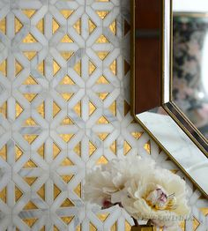 Joie, a handmade mosaic shown in honed 24K Gold Glass, honed Honey Onyx and polished Calacatta | The Aurora™ Collection by Sara Baldwin for New Ravenna