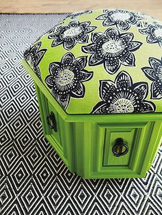 After: Thoroughly Modern Pouf--- haha my family has one of these lurking around.