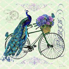 Peacock On Bicyle-jp2557 Digital Art