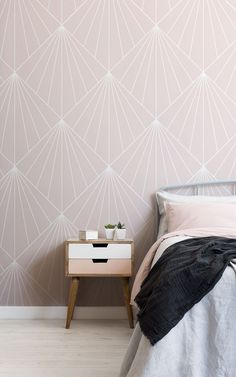 """We asked our store visitors in a survey, """"What type of style, theme, aesthetic, or mood are you trying to achieve in your home?"""" Below, 13 people tell us what their Dream Bedroom would look like – letting us in on their decor tastes, wallpaper choices, and how they want their bedroom to make them feel. We've brought their answers to life – creating their ideal bedroom spaces using some simple styling ideas that are easy to recreate. Read on to grab some great bedroom inspiration… World Map Wallpaper, Art Deco Wallpaper, Kids Wallpaper, Art Deco Bedroom, Dream Bedroom, Wallpaper Design For Bedroom, Pink Art, Pastel Pink, Feature Wall Bedroom"""