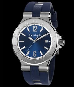Bulgari Diagono 42mm stainless steel, Rubber Strap. Available at Cellini Jewelers NYC