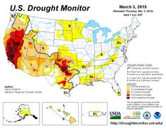 U.S. Drought Monitor Example (March 3, 2015) - Drought Conditions monitored and mapped on weekly basis