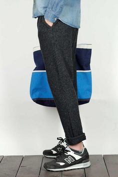 Tweed Look Sweat Pants, and New Balance Sneakers. Men's Spring Summer Fashion.