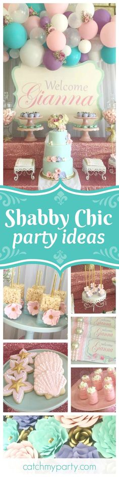Take a look at this fabulous shabby chic vintage mermaid birthday party! The birthday cake is absolutely stunning!! See more party ideas and share yours at http://CatchMyParty.com