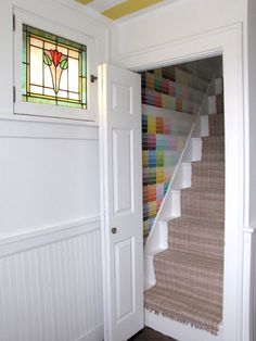 Cozy Little Cave: Psychedelic Stair Renovation! (paint chips as wall covering)
