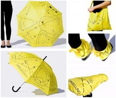 an umbrella that contains patterns for how to use it in it's afterlife.