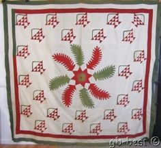 Show Stopping PA 1880s Princess Feather Applique Antique Basket Quilt Red Green | eBay