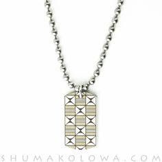 Pat Pruitt Stainless Steel Square Dog Tag Necklace
